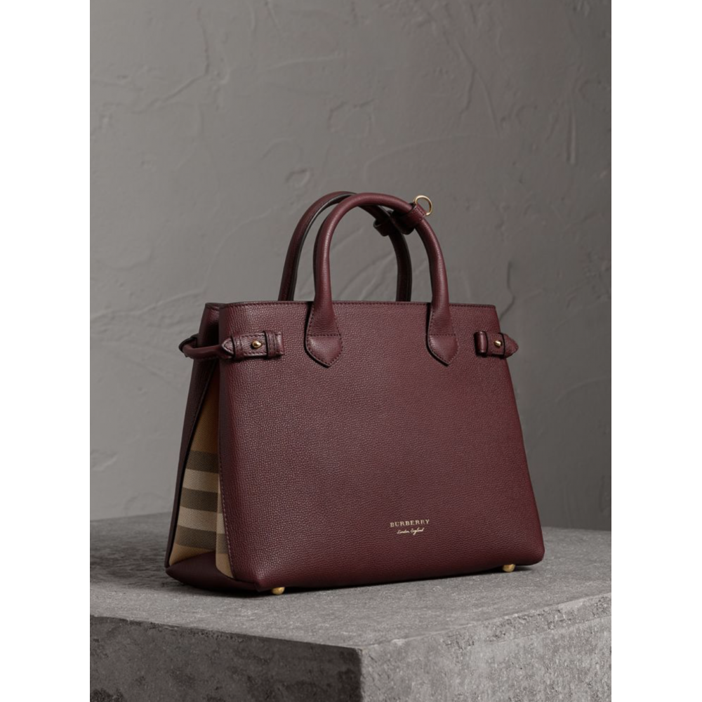 7eb0dbf37 Burberry The Medium Banner in Leather and House Check Mahogany Red