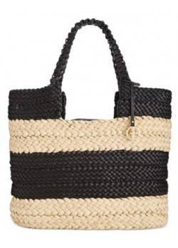 Giani Bernini natural straw handbag tote brown faux leather satchel Msrp $139  - 3