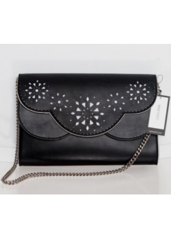 Nine West $69 NWT Ailey Clutch Bag Black White Shoulder Bag Chain Strap  - 2