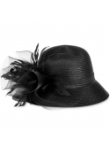 August Hats Orchid Cloche Hat Black ONE SIZE