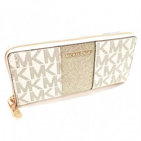 Michael Kors Vanilla Monogram Gold Glitter Center Stripe Large Travel Wallet Michael Kors - 1