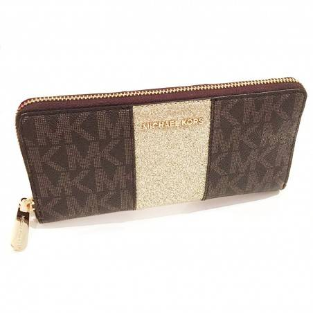 Michael Kors Brown Monogram Gold Glitter Center Stripe Large Travel Wallet