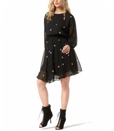 RACHEL Rachel Roy Star-Print Dress Black X Small