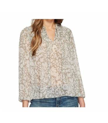 Lucky Brand Womens Beaded Floral Peasant Top Large