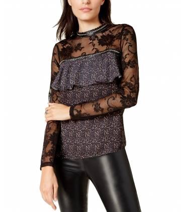 Glam Studded Lace-Sleeve Blouse Black Medium