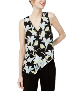 Bar III Printed Asymmetrical Top Medium