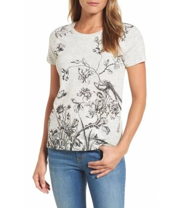 Lucky Brand Cotton Floral-Print T-Shirt Heather Grey XL