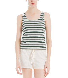 Max Studio London Striped Tank Top Oat Olive M