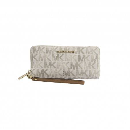 Michael Kors Vanilla Monogram Acorn Leather Large Zip Around Travel Wallet