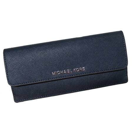 Michael Kors Jet Set Travel Flat Saffiano Leather Wallet Navy/Steel Blue