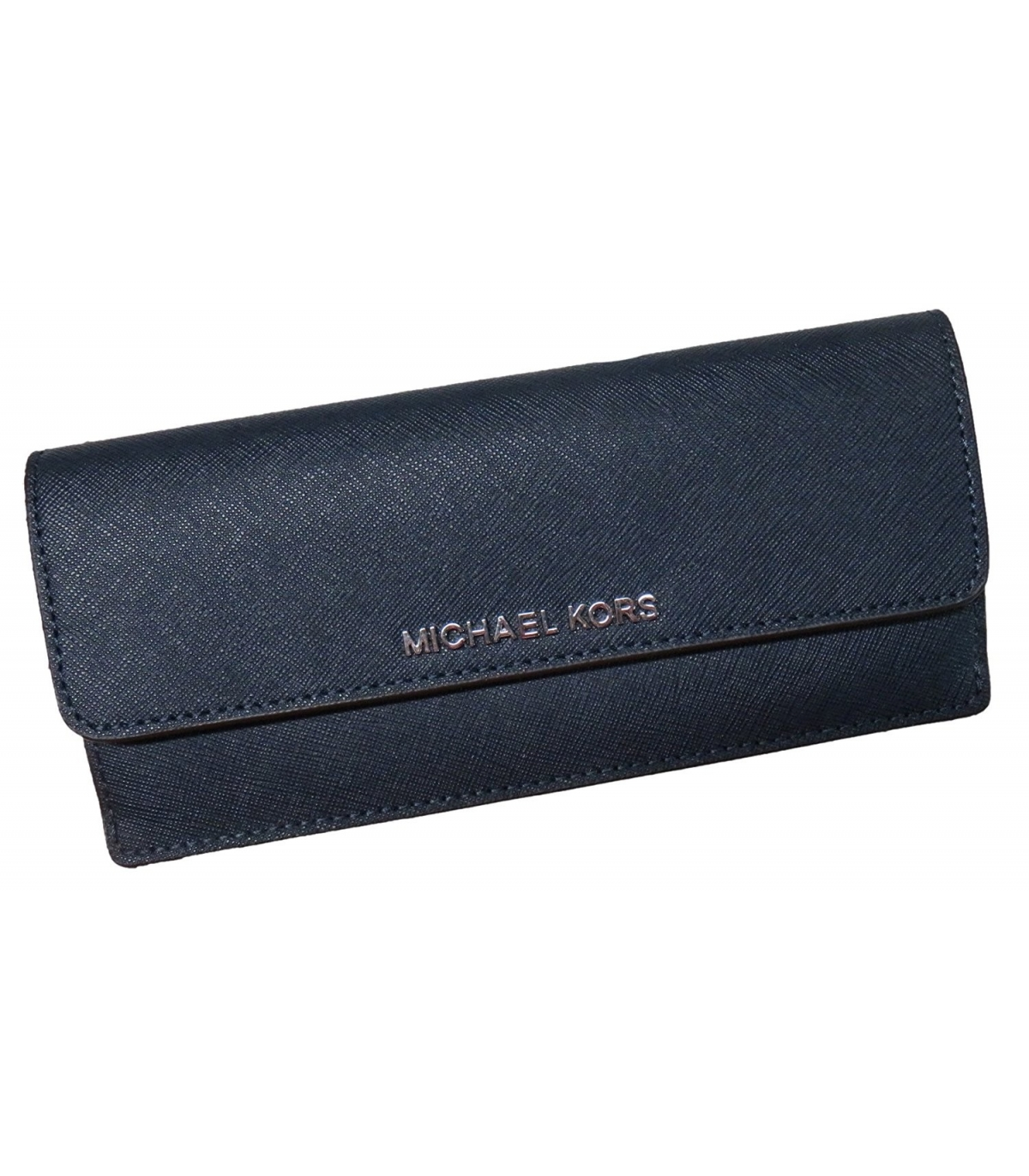 3393003f8ba4 Michael Kors Jet Set Travel Flat Saffiano Leather Wallet Navy/Steel Blue