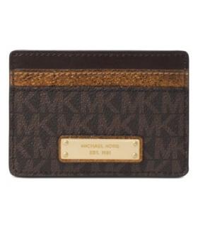Michael Kors Signature Metallic Card Holder BrownBronzeGold