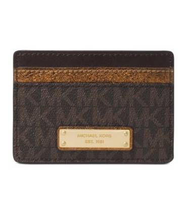 Michael Kors Signature Metallic Card Holder BrownBronzeGold