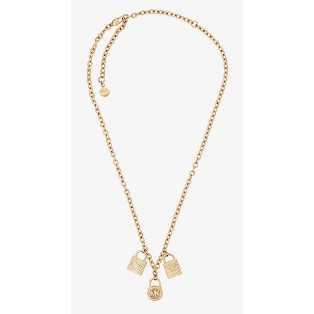 90d675cd29fbb MICHAEL KORS Gold-Tone Padlock Charm Necklace. Tap to expand