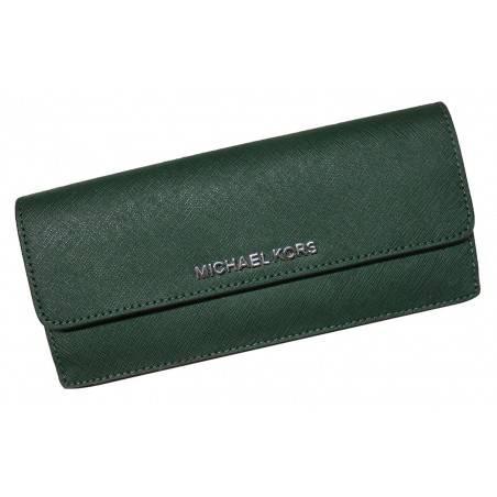 Michael Kors Jet Set Travel Flat Saffiano Leather Wallet Moss/Navy