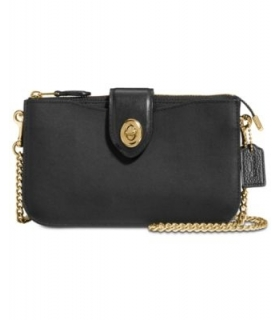 COACH Leather Turnlock Crossbody BlackGold