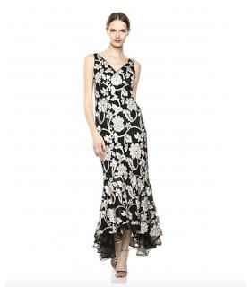 Calvin Klein Women's V-Neck Gown with High Low Flounce Hem