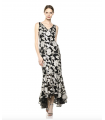Calvin Klein Women's V-Neck Gown with High Low Flounce Hem