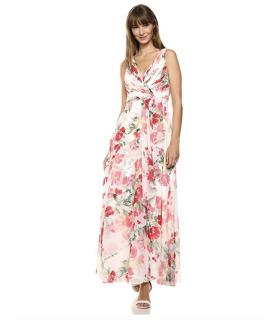 Calvin Klein Women's Sleeveless V-Neck Gown with Shirred Bodice Dress