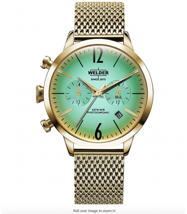 Welder Moody Stainless Steel Mesh Dual Time Gold-Tone Watch with Date 38mm