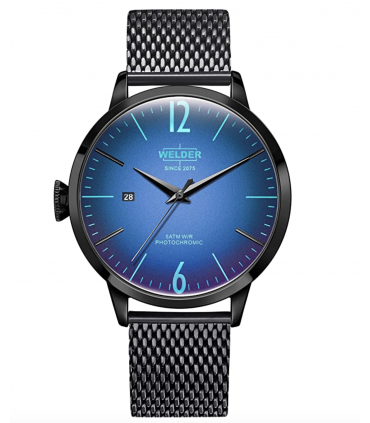 Welder Moody Stainless Steel Black Mesh 3 Hand Watch with Date 42mm