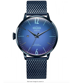 Welder Moody Stainless Steel Blue Mesh 3 Hand Watch with Date 45mm