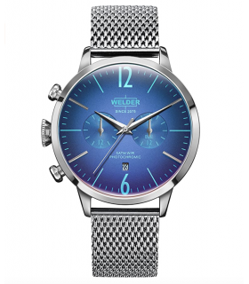Welder Moody Stainless Steel Mesh Dual Time Watch with Date 42mm