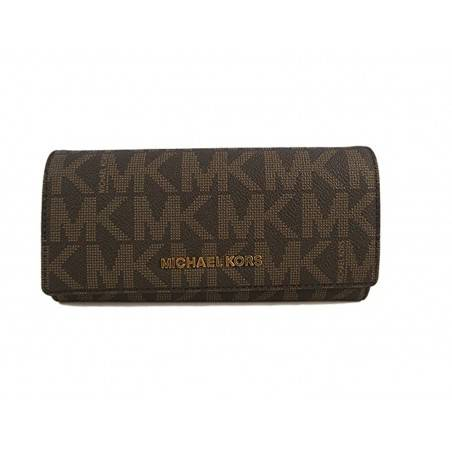 Michael Kors Jet Set Travel PVC Signature Carryall LTR Clutch Wallet in Brown