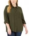 Michael Kors Plus Size Textured Tunic Shirt