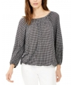 Michael Kors Check-Print Peasant Top, Regular & Petite XS