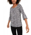 MICHAEL Michael Kors Animal-Print Bell-Sleeve Top GATHERED SLV PSNT