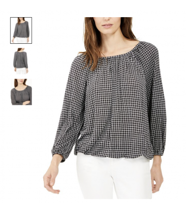 Michael Kors Check-Print Peasant Top, Regular & Petite XX Small