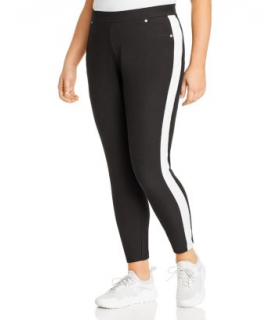 Black Michael Kors Plus Size Side-Stripe Pull-On Pants