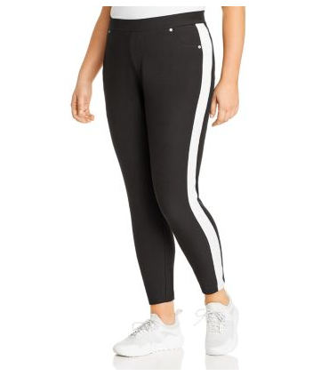 Black Michael Kors Plus Size Side-Stripe Pull-On Pants