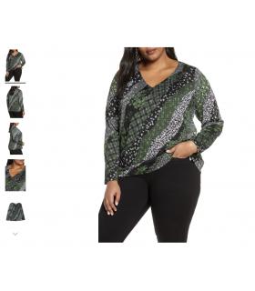 Plus Size Women's Michael Michael Kors Spring Collage Print V-Neck Top