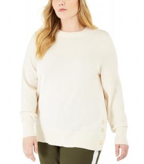 Michael Kors Plus Size Side-Snap Crewneck Sweater