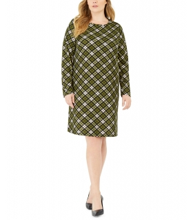 Michael Kors Plus Size Plaid Long-Sleeve Shift Dress