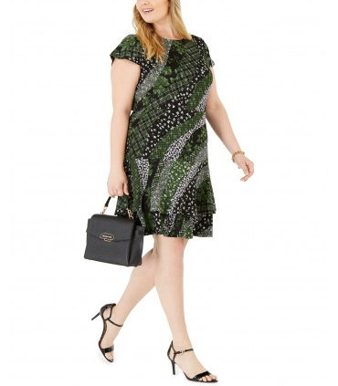Michael Kors Plus Size Mixed-Print Ruffled Fit & Flare Dress