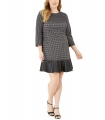 Michael Kors Plus Size Faux-Leather-Trim Plaid Dress