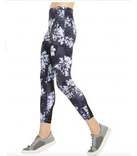 Ideology Womens Floral Print Fitness Athletic Leggings Blue M