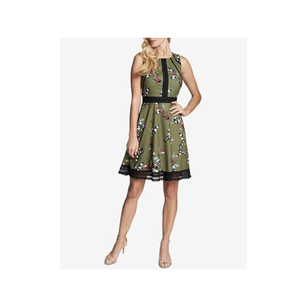 Guess Floral Print Amp Lace Fit Amp Flare Dress