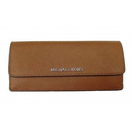 Michael Kors Jet Set Travel Flat Saffiano Leather Wallet Luggage/Cherry
