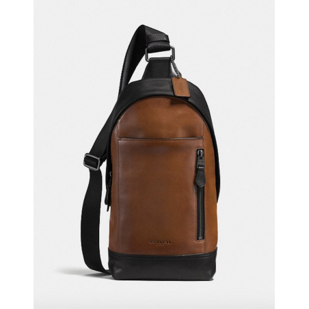 Manhattan Sling Pack In Colorblock SADDLE/BLACK/BLACK ANTIQUE NICKEL Coach - 2